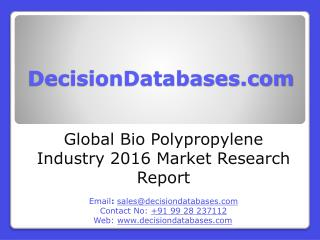 Global Bio Polypropylene Market and Forecast Report 2016-2021
