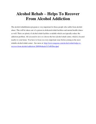 Alcohol Rehab – Helps To Recover From Alcohol Addiction