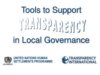 Tools to Support  in Local Governance