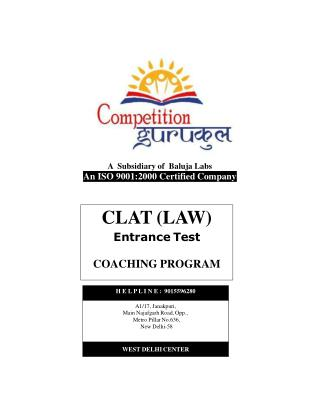 CLAT (Law) Coaching in Uttam Nagar & Janakpuri, Delhi - Competition Gurukul