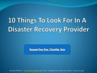 10 Things To Look For In A Disaster Recovery Provider