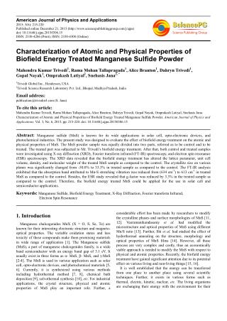 Characterization of Atomic and Physical Properties of Biofield Energy Treated Manganese Sulfide Powder