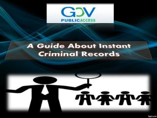 A guide about instant criminal records