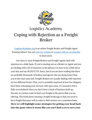 Coping With Rejection as a Freight Broker