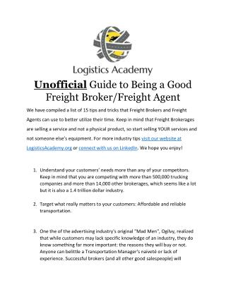 Unofficial Guide to Becoming a Good Freight Broker or Freight Agent