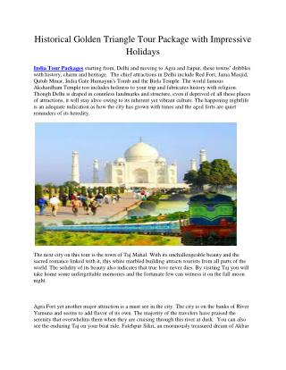 Historical Golden Triangle Tour Package with Impressive Holidays