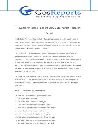 Global Air Intake Hose Industry 2015 Market Research Report