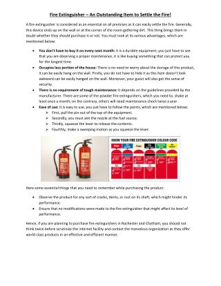 Fire Extinguisher – An Outstanding Item to Settle the Fire!