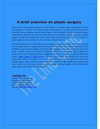 A brief overview on plastic surgery