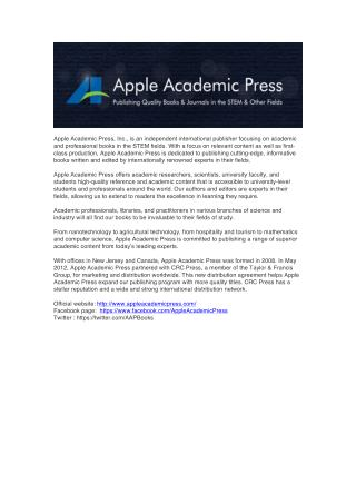 About Apple Academic Press