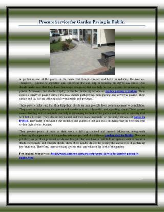 Procure Service for Garden Paving in Dublin