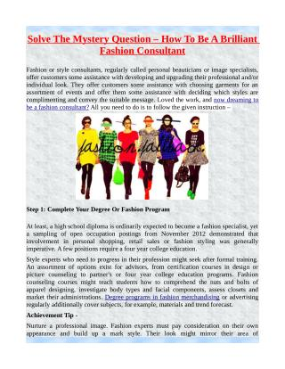 Solve The Mystery Question – How To Be A Brilliant Fashion Consultant