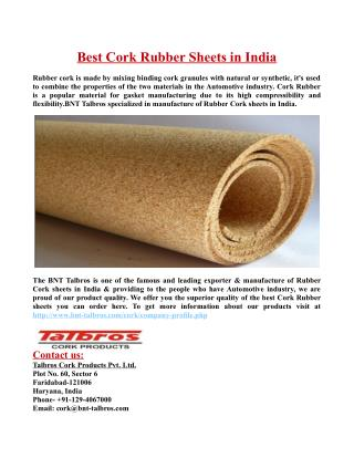 Best Cork Rubber Sheets in India.