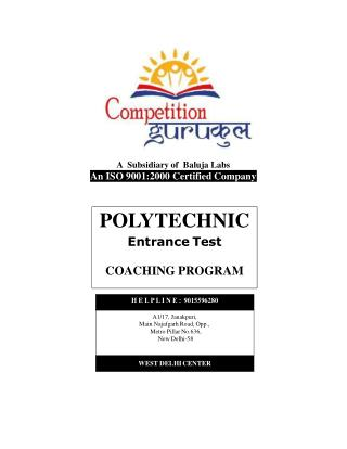 Polytechnic Coaching in Uttam Nagar & Janakpuri, Delhi - Competition Gurukul