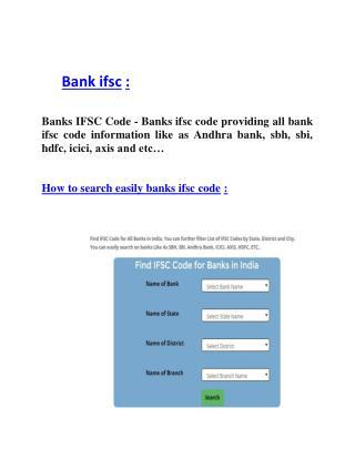 Bank ifsc
