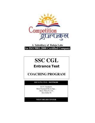 SSC Coaching in Uttam Nagar & Janakpuri, Delhi - Competition Gurukul