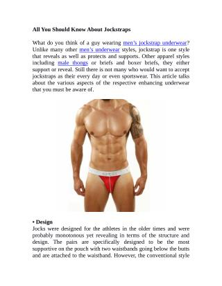 All You Should Know About Jockstraps