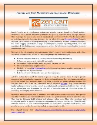 Procure Zen Cart Websites from Professional Developers