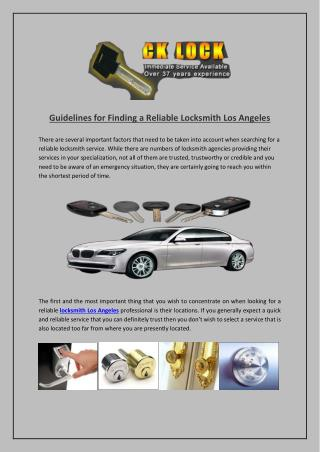 Guidelines for Finding a Reliable Locksmith Los Angeles