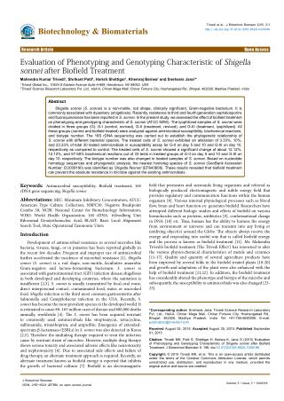 Evaluation of Phenotyping and Genotyping Characteristic of Shigella sonnei after Biofield Treatment