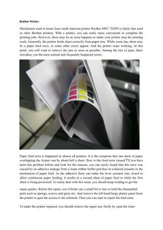 Brother Printer Paper Jam Issues