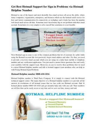 Get Best Hotmail Support for Sign in Problems via Hotmail Helpline Number