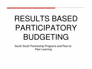 RESULTS BASED PARTICIPATORY BUDGETING