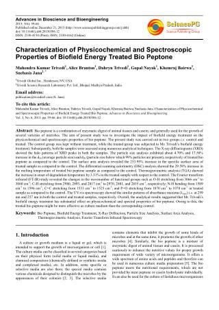 SciencePG Journal of Advances in Bioscience & Bioengineering