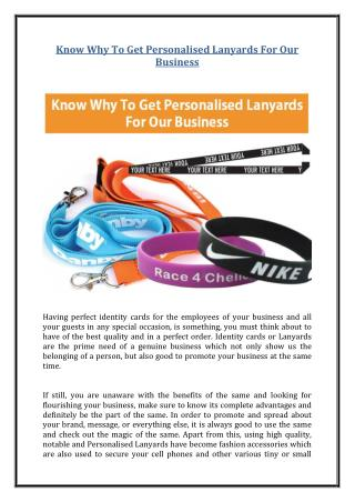 Know Why To Get Personalised Lanyards For Our Business