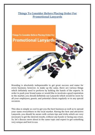 Things To Consider Before Placing Order For Promotional Lanyards