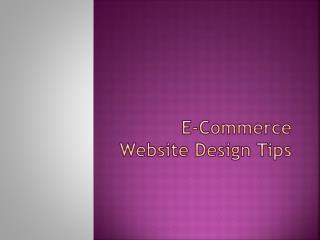 ECommerce Website Design Tips
