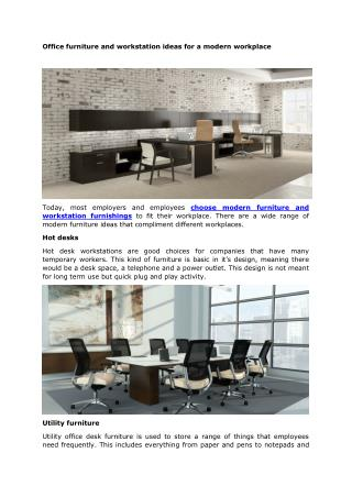 Office furniture and workstation ideas for a modern workplace