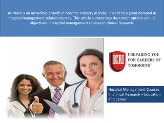 Hospital Management Courses,Best Clinical Research Institute