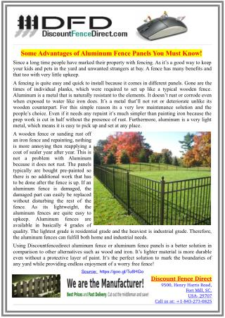 Some Advantages of Aluminum Fence Panels You Must Know!