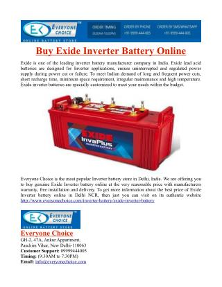 Buy Exide Inverter Battery Online