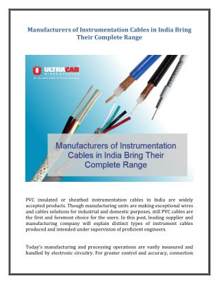 Manufacturers of Instrumentation Cables in India Bring Their Complete Range