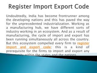 Register Import Export Code