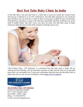 Best Test Tube Baby Clinic In India