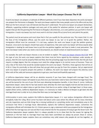 California Deportation Lawyer - Work Visa Lawyer Chooses The H-1B