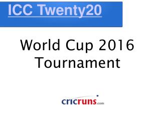 Twenty20 World Cup 2016 Tournament Schedule