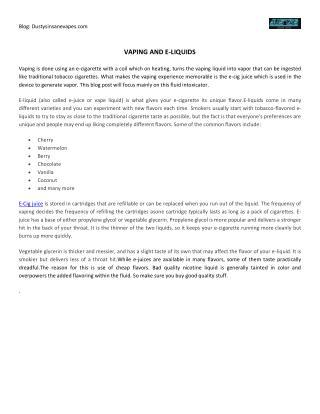 Vaping And E-Liquids