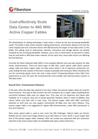 Cost-effectively Scale Data Center to 40G With Active Copper Cables