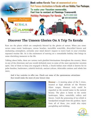 Discover The Unseen Glories On A Trip To Kerala