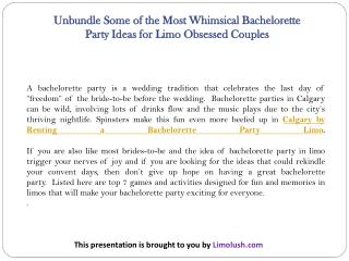 Unbundle Some of the Most Whimsical Bachelorette Party Ideas for Limo Obsessed Couples