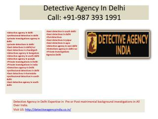 Detective Agency India, Professional Detective In Delhi