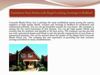 Transform Your Home with Regal Looking Awnings in Bedford