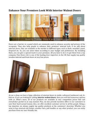 Enhance Your Premises Look With Interior Walnut Doors