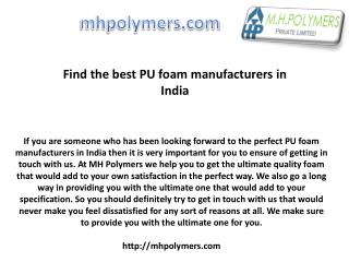 Find the best PU foam manufacturers in India