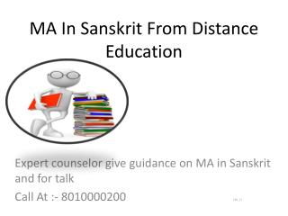 MA In Sanskrit-Distance Learning Universities