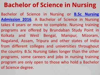 B.Sc Nursing Training